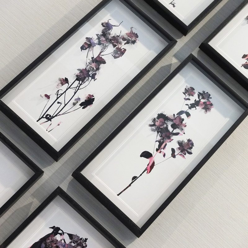 3D delicate silk floral art for hotels Artic Storm art consultants UK