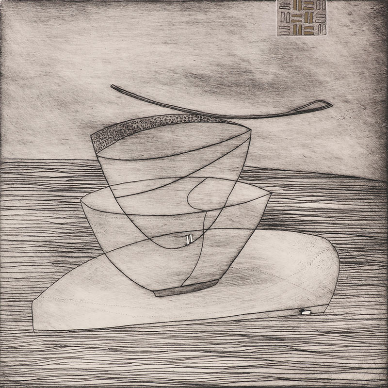 abstract monochrome Japanese bowl art print by Artic Storm art consultant uk
